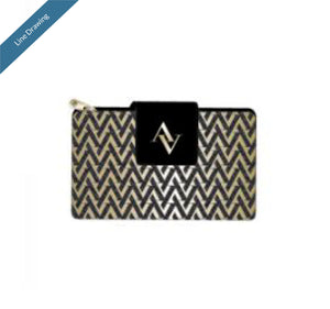 French Purse Wallet - Black & Gold - Line Drawing