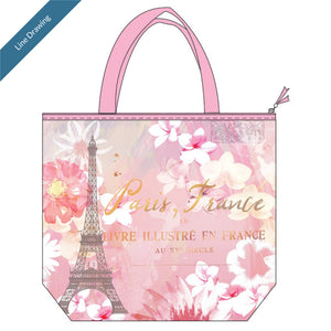Insulated Lunch Tote Paris Pastel - Line Drawing