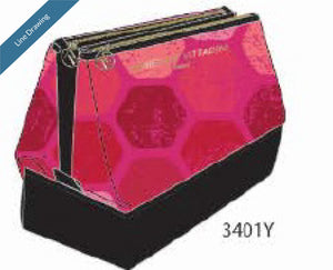 Two-Pocket Pyramid Beauty Bag - Geometric Pink - Line Drawing