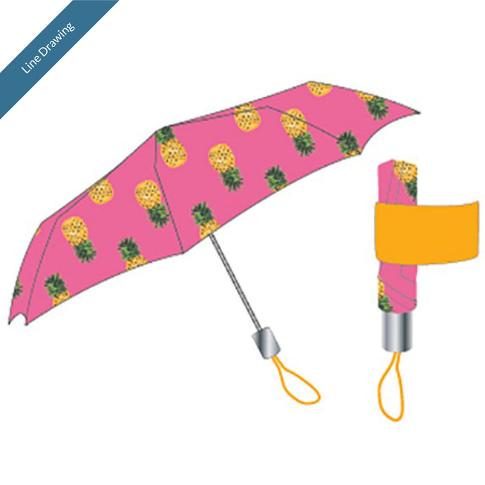 Umbrella with Band - Pink Pineapple