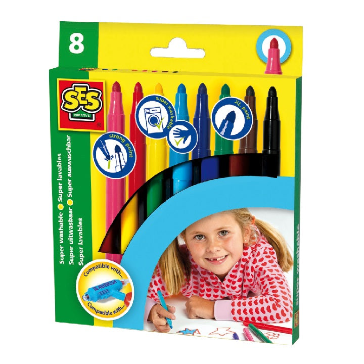 SES: Marker pens maxi 8 colours washable
