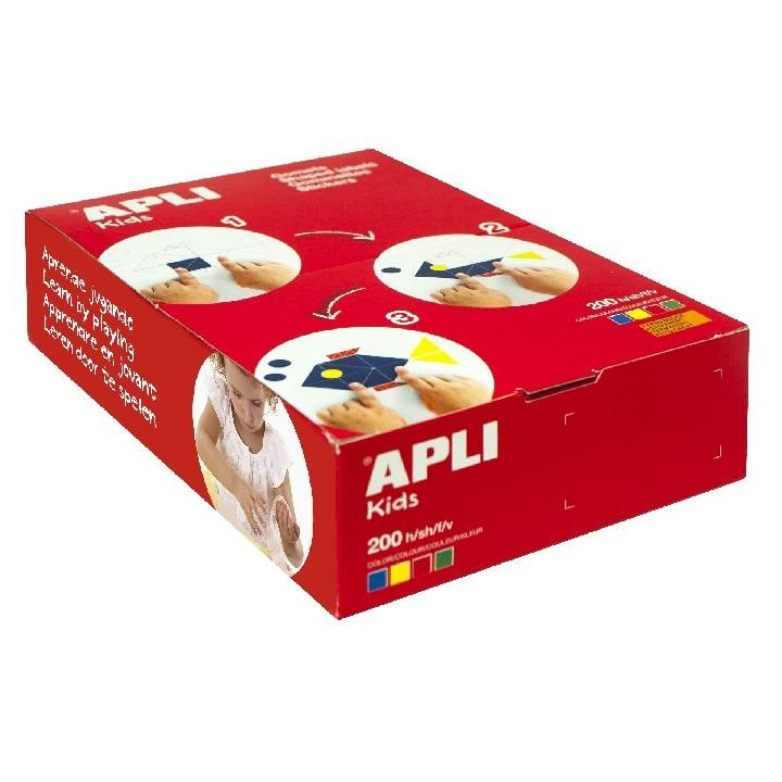 Apli: 10mm/15mm/23mm Circle/ 200 sheets/ 4 Col assorted