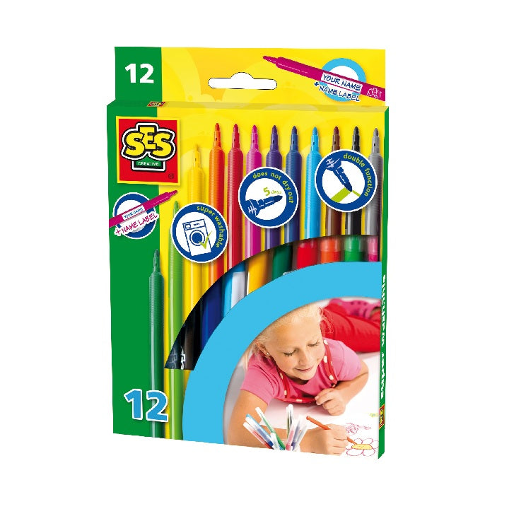 SES: Markers 12 colours washable