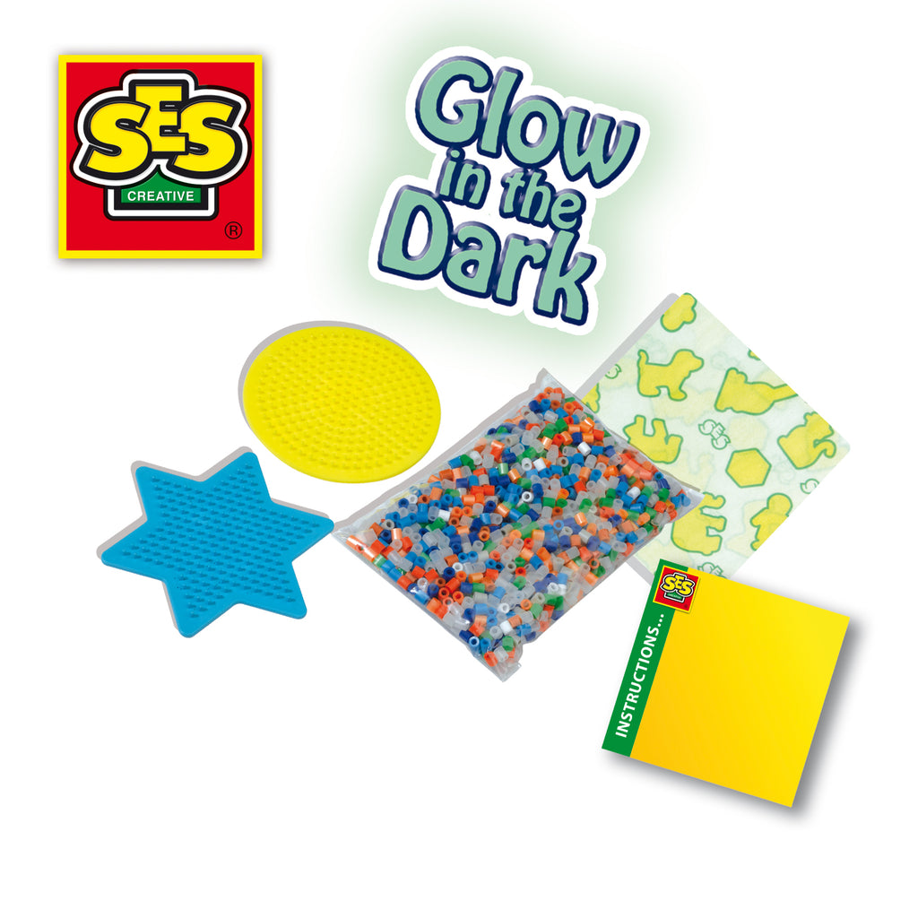 SES: Iron on beads glow in the dark stars