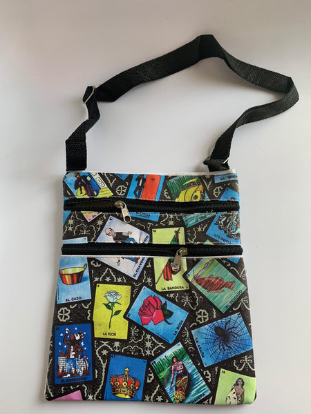 "Mexican Loteria Messenger Bag (Approx. Dimensions 8.5"" W x 10"" H)"