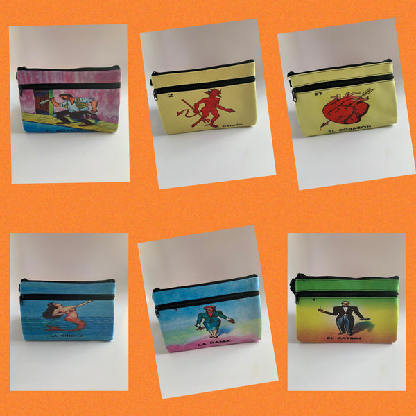 "Mexican Loteria Coin Purses - VARIOUS THEMES (Approx. Dimensions 7.5"" W x 5"" H)"