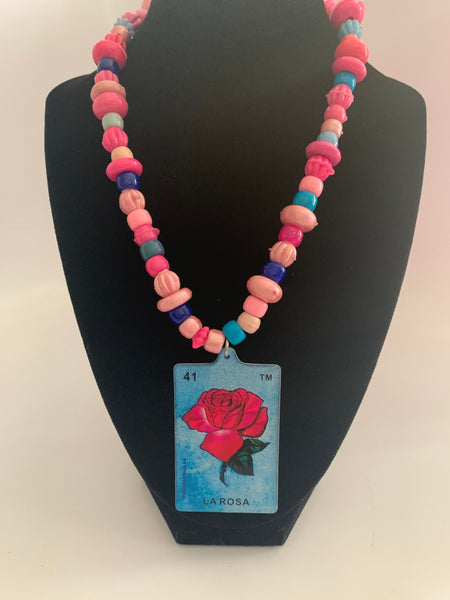 Mexican Loteria Bead Necklace La Rosa/ Rose