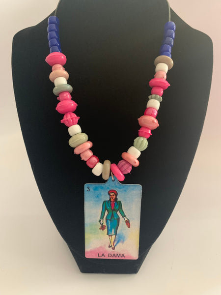 Mexican Loteria Bead Necklace La Dama