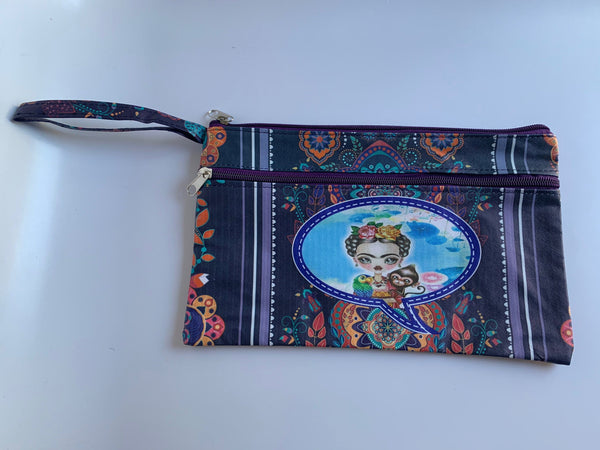 "Cinco de Mayo Mothers Day Frida Makeup Bag (Approx. Dimensions 11"" W x 7"" H)"