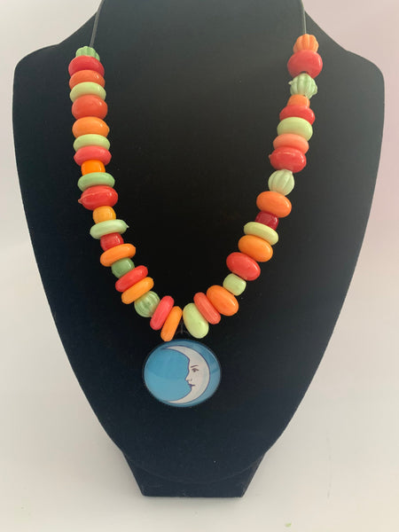 Mexican Loteria Bead Necklace La Luna