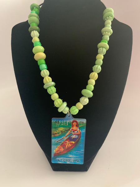 Mexican Loteria Bead Necklace La Chalupa