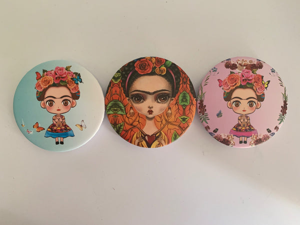 Cinco de Mayo Mothers Day Frida Mirror, Compact Mirror (two mirrors inside- 1 regular and 1 magnifying)