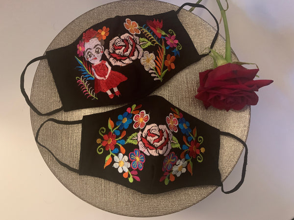 Handmade 3 Layer Black Mexican Floral Facemask