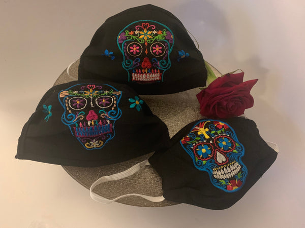 Sugar Skull Handmade 3 Layer Black Embroidered Facemask