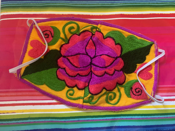 Flower Mexican Embroidered Handmade Facemask