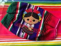 Embroidered Zarape Mexican Doll Handmade Facemask