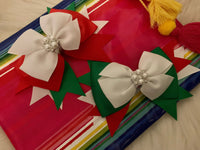 "Holiday Accessories, Hair Bow, Handmade Mexican Flag Colors Hair Bow Clip, Hair Accessories, Mexican Independence (6"" x 3"")"