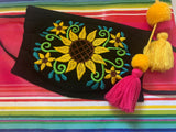Embroidered Mexican Flower Handmade Facemask