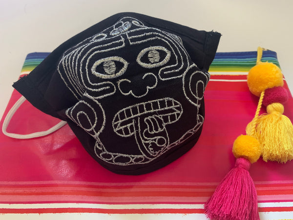 Aztec Calendar Sun God Embroidered Handmade Facemask