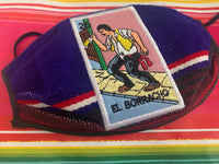 Loteria El Borracho Sarape High Quality Embroidered Mexican Handmade Facemask, Face Shield