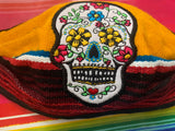 Sugar Skull Facemask Sarape High Quality Embroidered Mexican Handmade Facemask, Face Shield