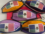 Mexican American Flag Embroidered Handmade Facemask, Face Shield