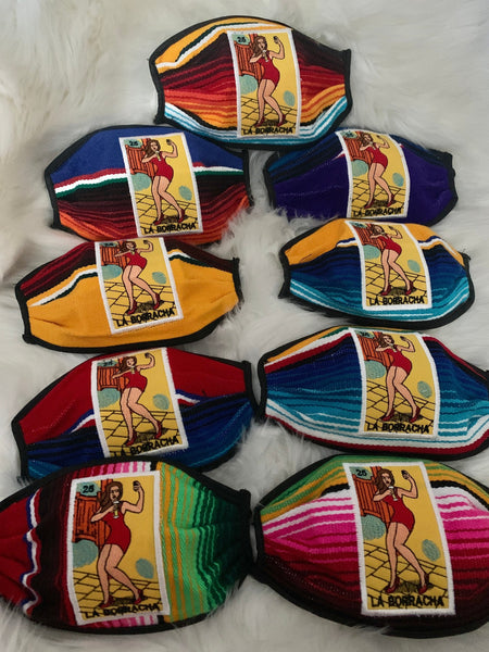Loteria La Borracha Mask, Lotería Sarape High Quality Embroidered Mexican Handmade Facemask, Face Shield