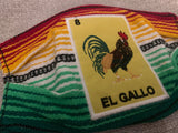 Loteria El Gallo Sarape High Quality Embroidered Mexican Handmade Facemask, Face Shield