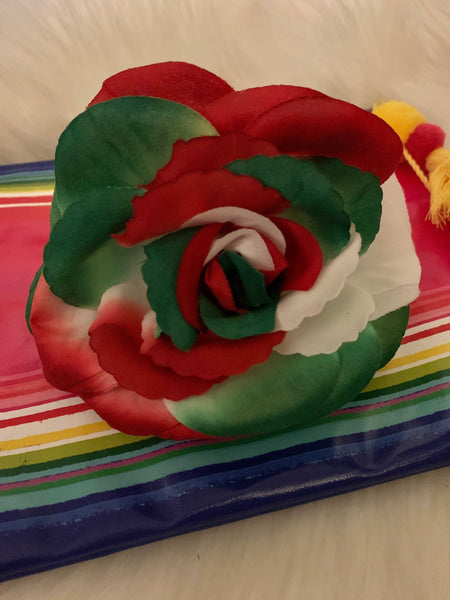 "Holiday Accessories, Handmade Mexican Flag Colors Hair Bow Clip, Hair Accessories, Mexican Independence (5.5"" x 5"")"
