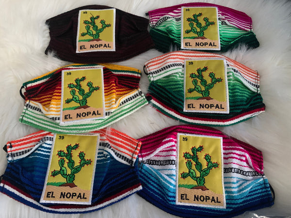 Loteria El Nopal Sarape High Quality Embroidered Mexican Handmade Facemask