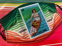 La Chalupa Lotería Facemask, Lotería Sarape High Quality Embroidered Mexican Handmade Facemask, Face Shield