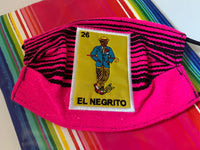 Cinco de Mayo Mothers Day Loteria El Negrito Sarape High Quality Embroidered Mexican Handmade Facemask