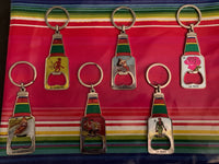 "Cinco de Mayo Mothers Day Mexican Loteria Bottle Opener/Key Chain- VARIOUS DESIGNS (2"" w x 2"" l)"