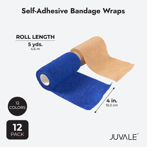 Juvale Self Adhesive Bandage Wrap, Cohesive Tape in 12 Colors (4 in x 5 Yards, 12-Pack)