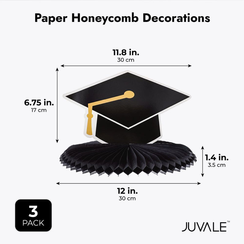 Graduation Party Centerpiece, 3 Designs Paper Honeycomb Decorations (3 Pieces)