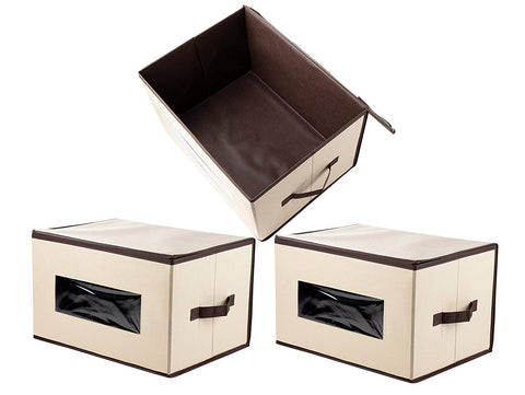 Foldable Storage Cubes - Beige, 16.25 x 12 x 10 Inches