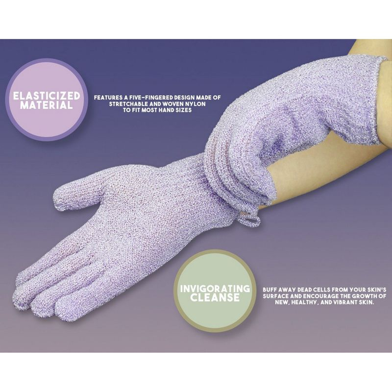 Juvale Exfoliating Gloves for Shower Body and Face (4 Pairs)