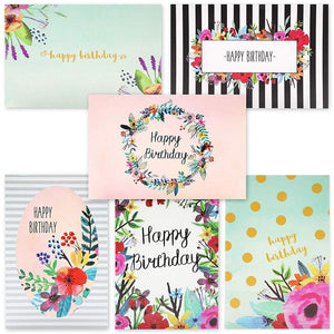 "48-Pack Happy Birthday Cards w/Envelopes, 6 Watercolor Floral Designs, 4"" x 6"""