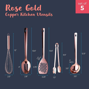 Juvale 5-Pack Rose Gold Cooking Utensil Set - Copper Plated Ladle, Balloon Whisk, Tongs, Slotted Spatula and Spoon