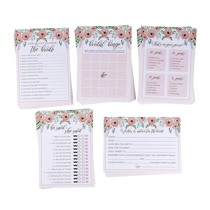 Juvale Set of 5 Pink Floral Bridal Shower Wedding Games, 50 Cards Each Game, 5 x 7 Inches