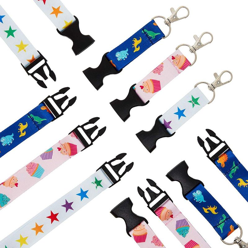 Juvale 6-Pack Kids Lanyards with Detachable Buckle, 3 Designs