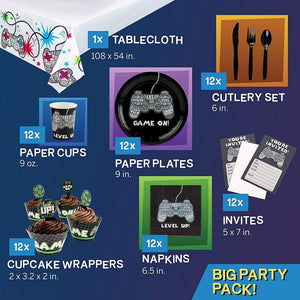 Juvale Video Game Birthday Party Pack for 12 Gamer Decorations and Supplies