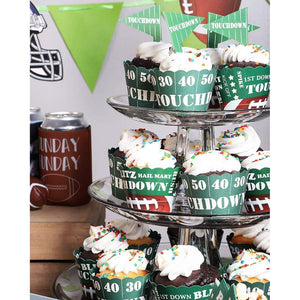Football Cupcake Toppers and Wrappers for Tailgate Party, Game Day (100 Pieces)