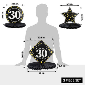 Juvale 3-Pack 30th Birthday Honeycomb Table Centerpiece Party Decoration, 3 Star Designs
