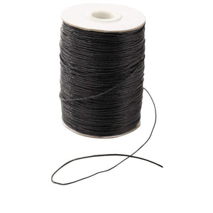 Waxed Cotton Cord, Jewelry Making Supplies (Black, 1 mm, 218 Yards)