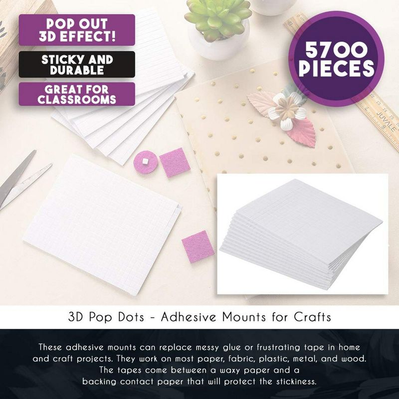 Self Adhesive 3D Mounting Squares (0.2 in, 12-Pack, 5700 Pieces)