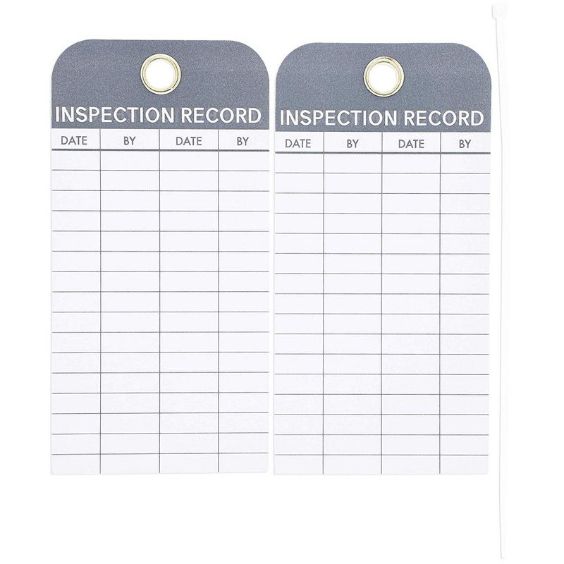 Juvale 24-Pack Inspection Safety Record Label Tags with Cable Ties, 6 x 3 Inches