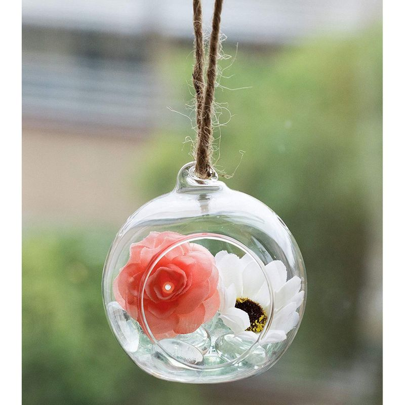 Juvale Hanging Glass Terrarium - 6-Pack 2-Design Orb and Teardrop Terrarium, Air Plant Holder for Succulent Plants, Tealight Candles, Christmas Indoor Outdoor House Decoration