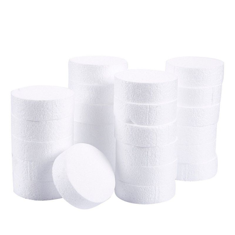 Foam Circles for Crafts, DIY Projects (3 x 3 x 1 In, 24 Pack)