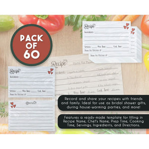 Recipe Cards – 60-Pack Blank Recipe Cards, Double-Sided, Rustic Heart Design, Perfect for Wedding, Bridal Shower, and Special Occasion, 4 x 6 Inches